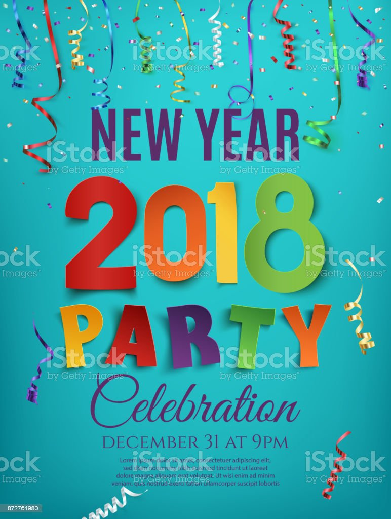 Modèle de conception de nouvel an 2018 parti affiche. - Illustration vectorielle