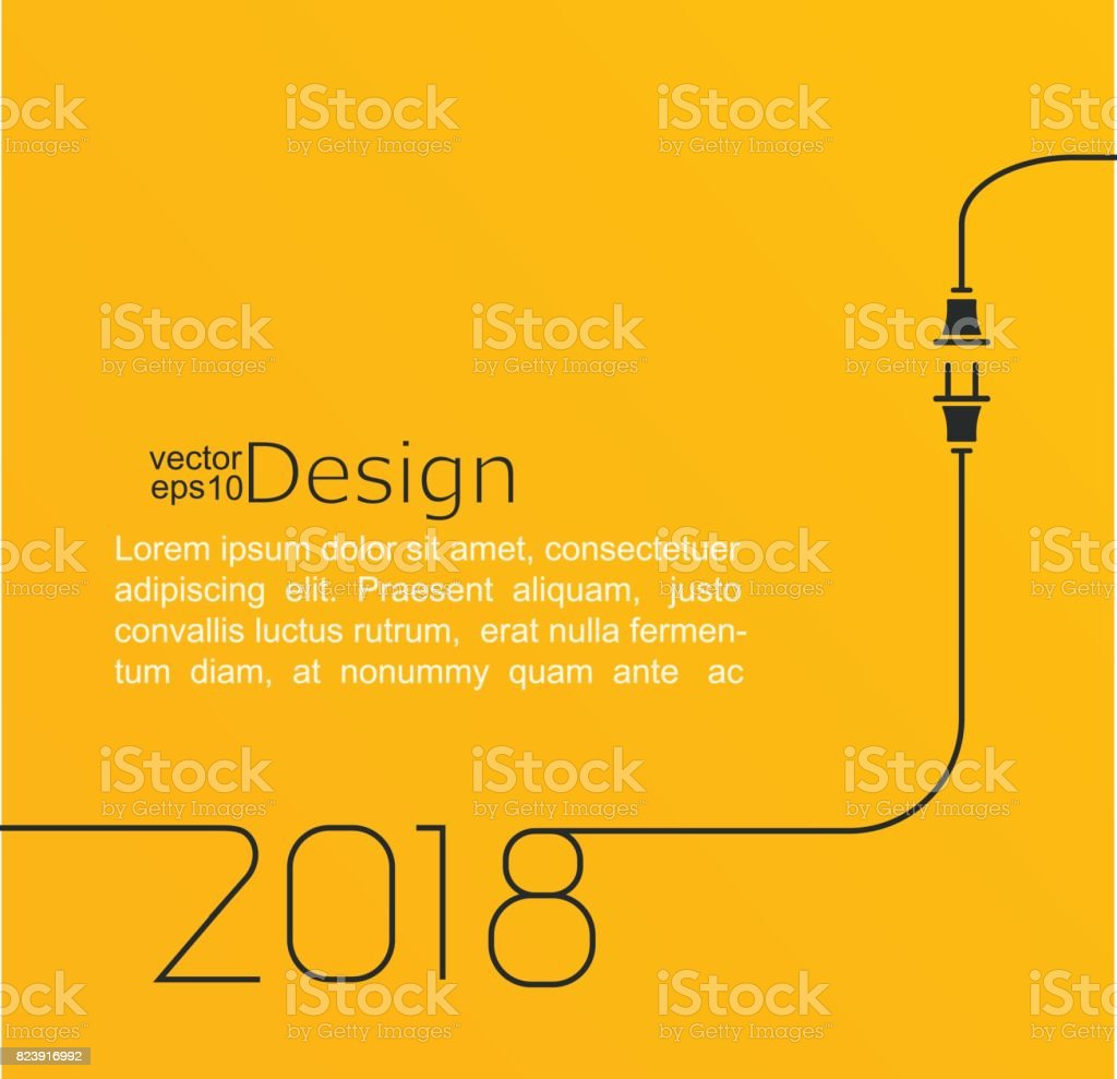 New year 2018 plug and socket. vector art illustration