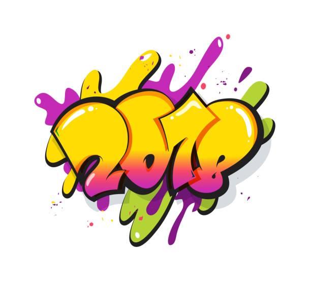 neue jahr 2018 textgestaltung. - graffiti schriftarten stock-grafiken, -clipart, -cartoons und -symbole