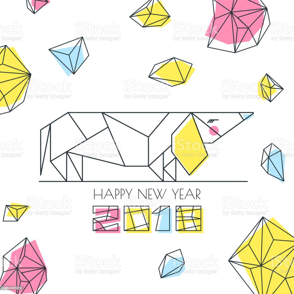 New year 2018 vector greeting card poster banner with outline new year 2018 vector greeting card poster banner with outline multicolor dog symbol kristyandbryce Images