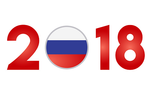 New Year 2018 with Russia Flag