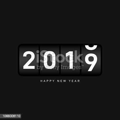 New year 2019 background decorative with odometer number counter. Design element template can be used for greeting card, postcard, backdrop, brochure, publication, banner, vector illustration