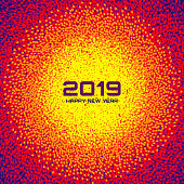 New Year 2019 Card Background. Christmas Colorful bright Circle Frame. Confetti white circle dots texture. Vector illustration
