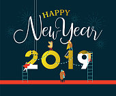 Happy New Year greeting card illustration for celebration event with fun people group building 2019 sign together on firework night sky. EPS10 vector.