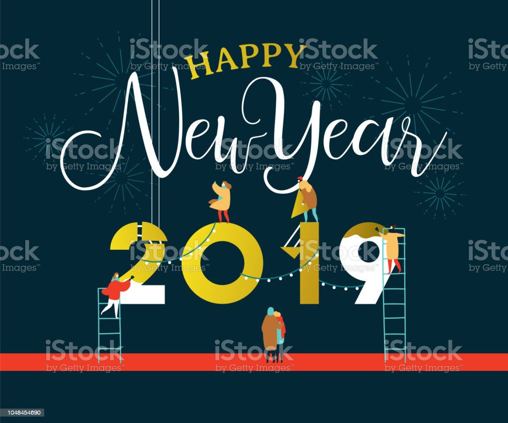 New Year 2019 card of people in celebration party vector art illustration