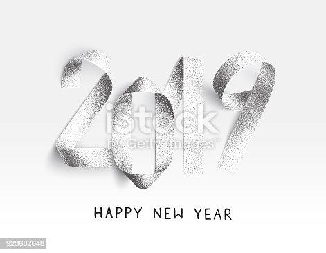 845307398 istock photo New Year 2019 card - stippling 3D Illustration with realistic paper strips bent in the shape of numbers 923682648