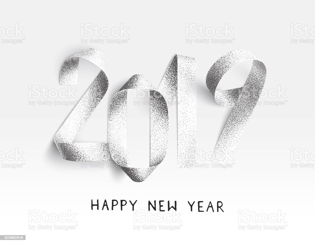 New Year 2019 card - stippling 3D Illustration with realistic paper strips bent in the shape of numbers vector art illustration