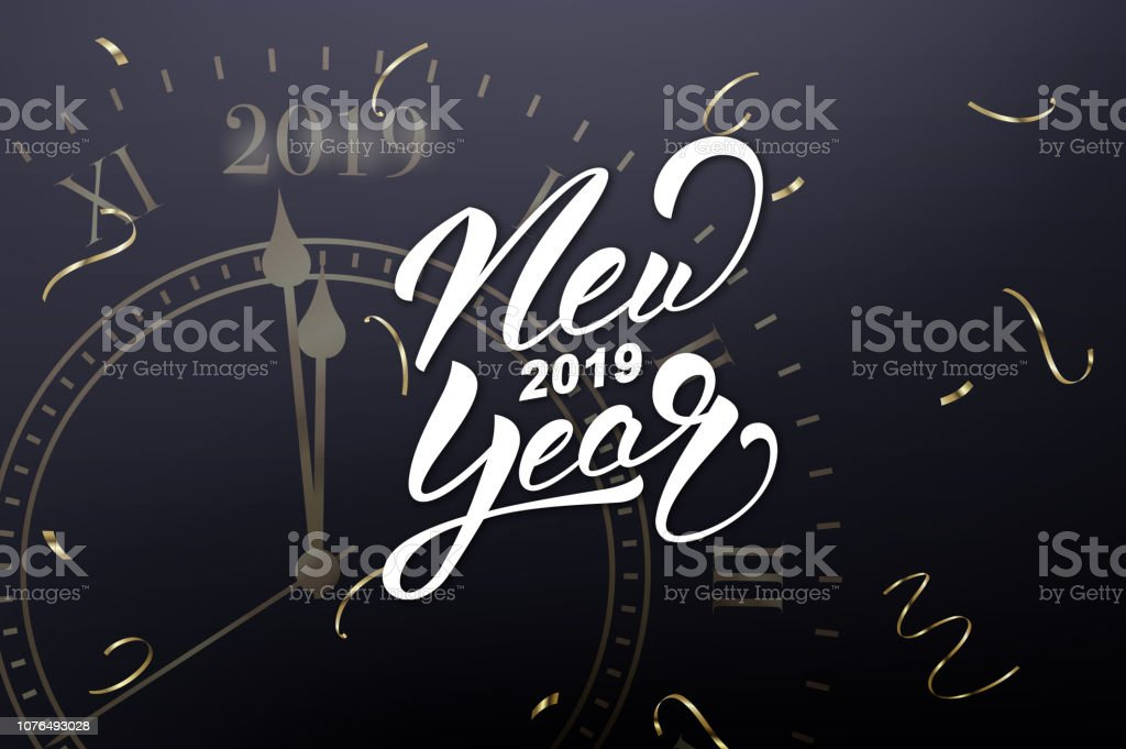 New Year 2019 Card With New Year Lettering And Gold Clock Meaning