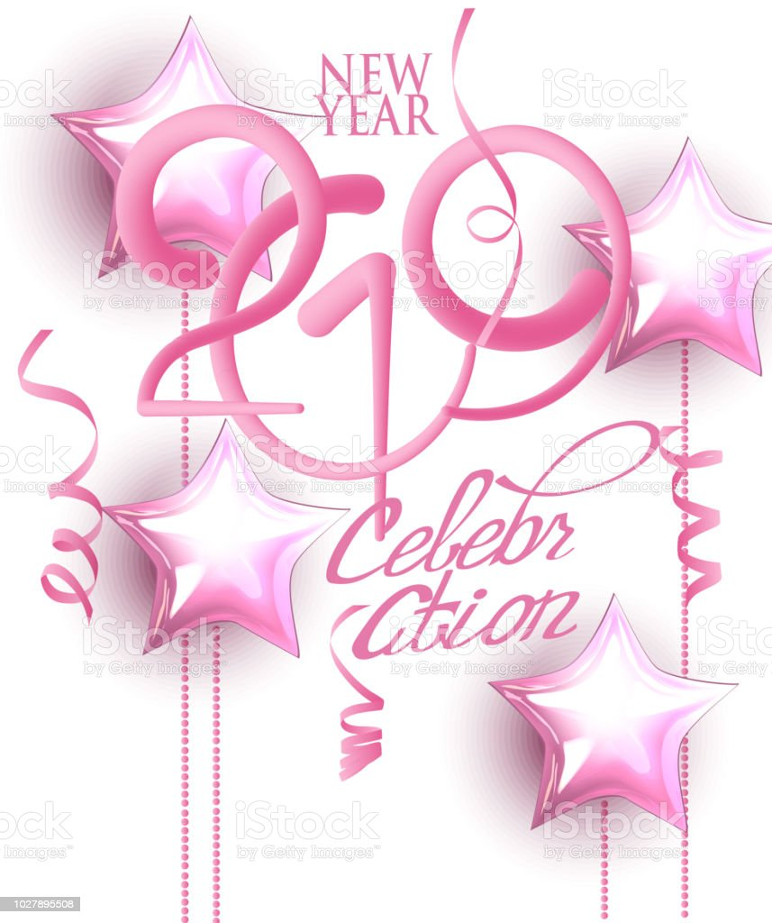 new year 2019 celebration invitation card with pink decorations and volume numbers vector illustration royalty