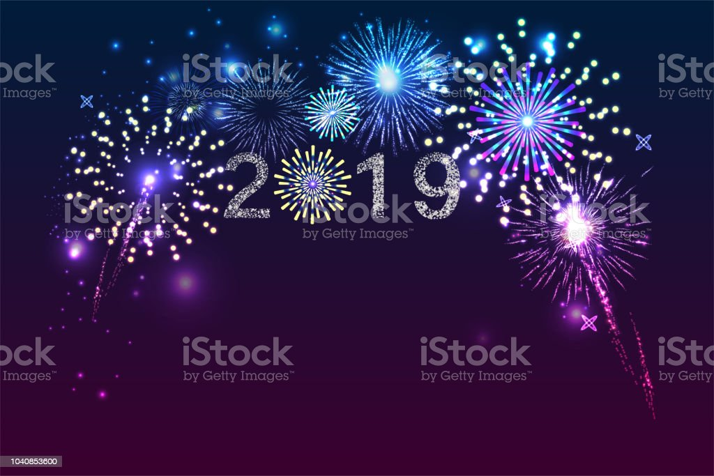 New Year 2019 Fireworks Background With Space For Text Illustration Vector  Stock Illustration - Download Image Now