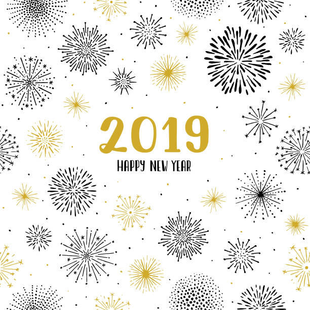 New year 2019 fireworks seamless pattern Easily editable vector illustration on layers. fireworks stock illustrations