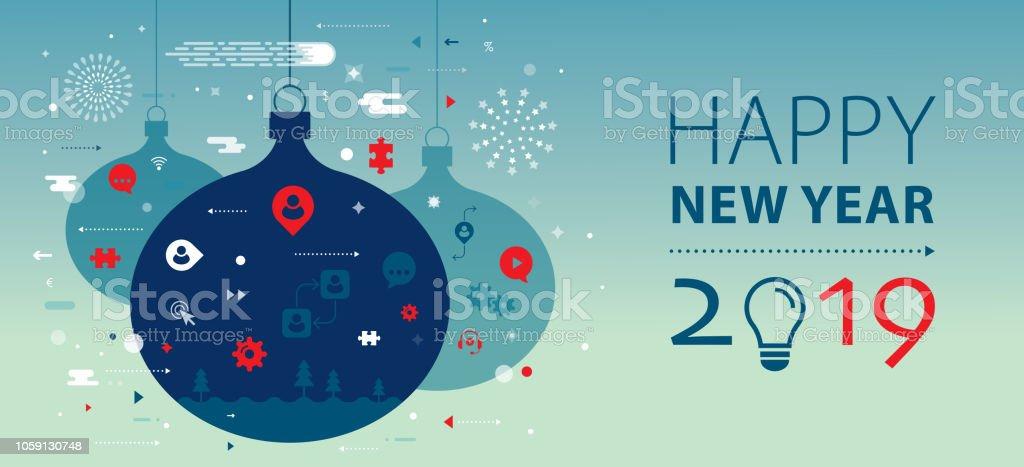 Neue Jahr 2019 Gruß Banner – Vektorgrafik