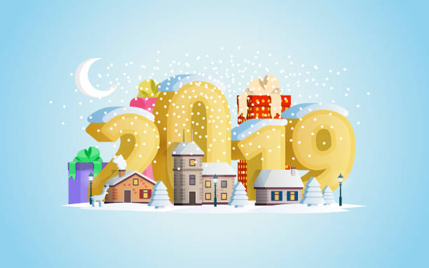 New year 2019. Greeting card. A small town in mountains. The winter vacation vector art illustration