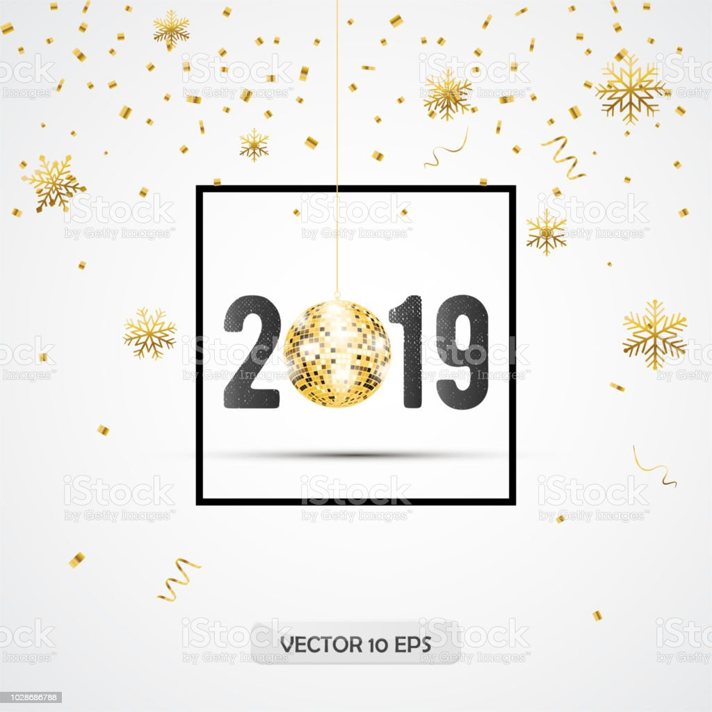 new year 2019 greeting card design with border disco ball and silver confetti vector