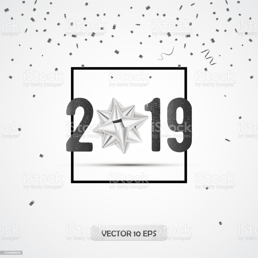 new year 2019 greeting card design with silver gift bow confetti and border vector