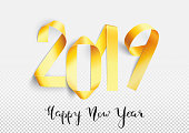 New Year 2019 greeting card with gold painted paper stripes bent in 2019 numbers shapes. Unique and original artwork based on hand-made artistic composition edited and worked out in detail in Adobe Illustrator. Fantastic material to design New Year's art.