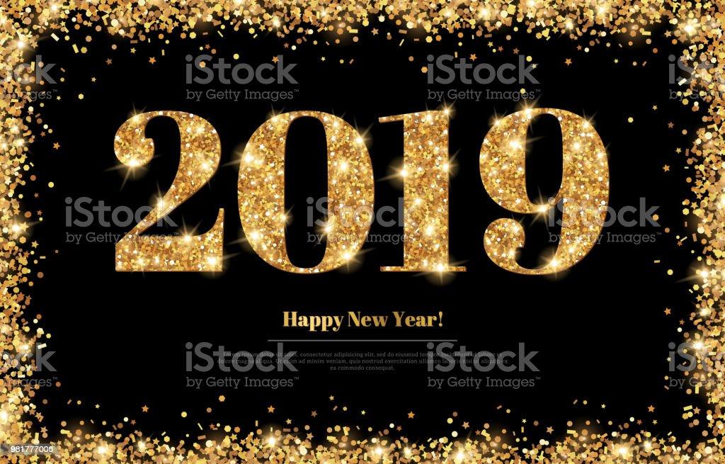 Neue Jahr 2019 Greeting Card Stock Vektor Art und mehr Bilder von ...