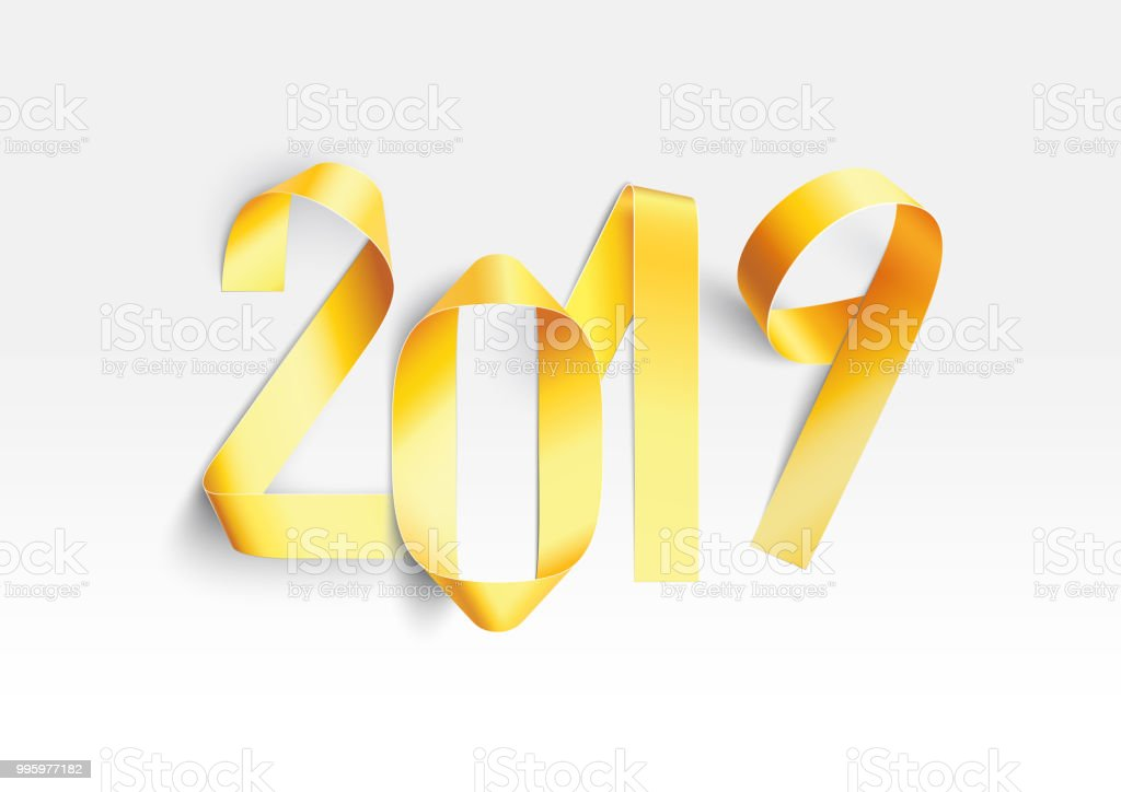 New Year 2019 Greeting Card With Realistic Handmade Golden 3d