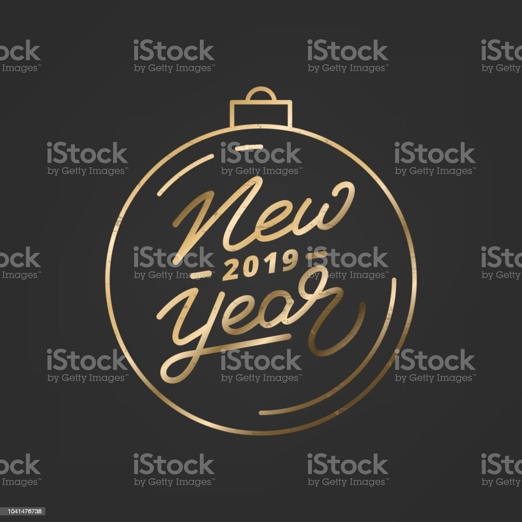 new year 2019 happy new year 2019 gold hand lettering label hand drawn logo