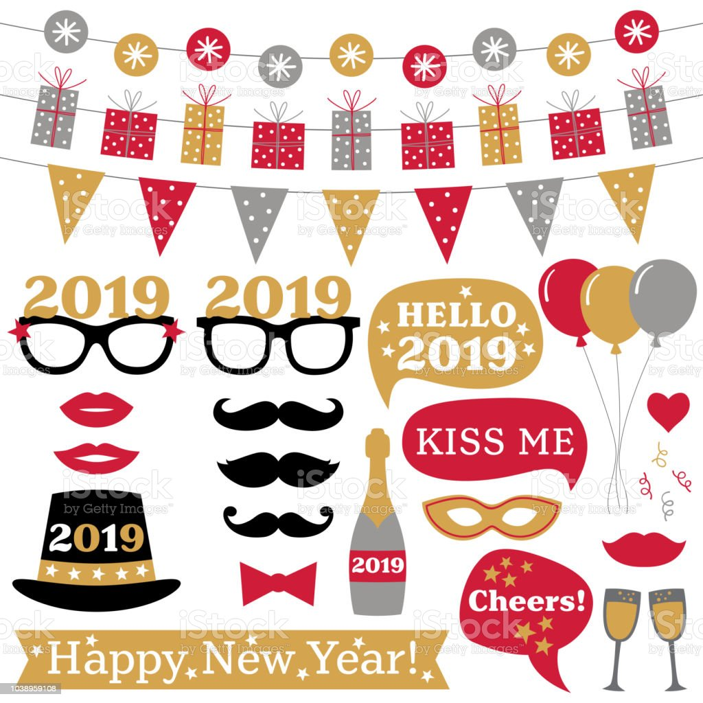 New Year 2019 photo booth props and decoration vector art illustration
