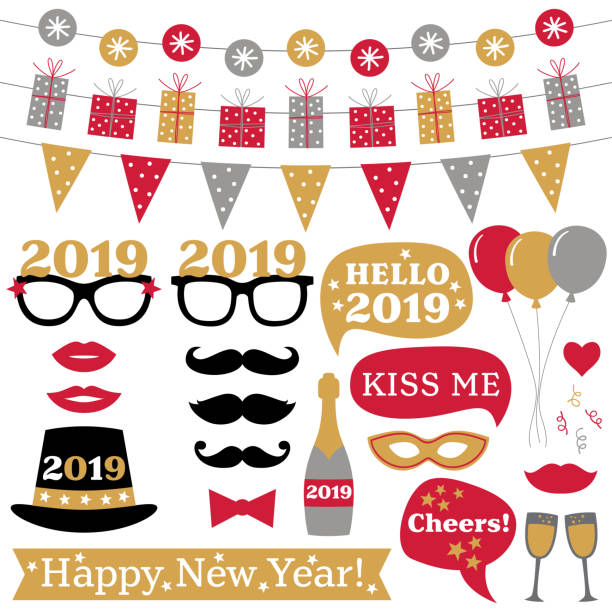 new year 2019 photo booth props and decoration - new years stock illustrations
