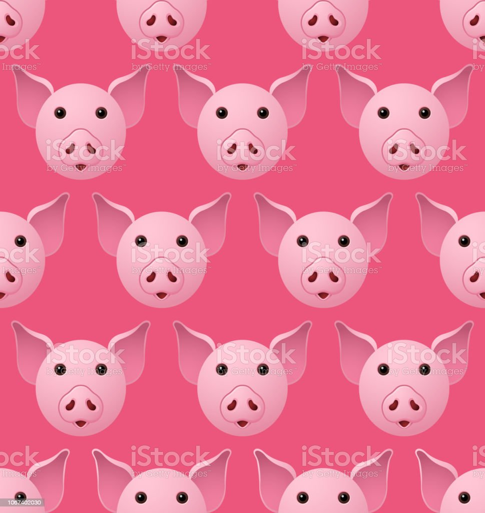 New Year 2019 Pig Seampless Pattern vector art illustration
