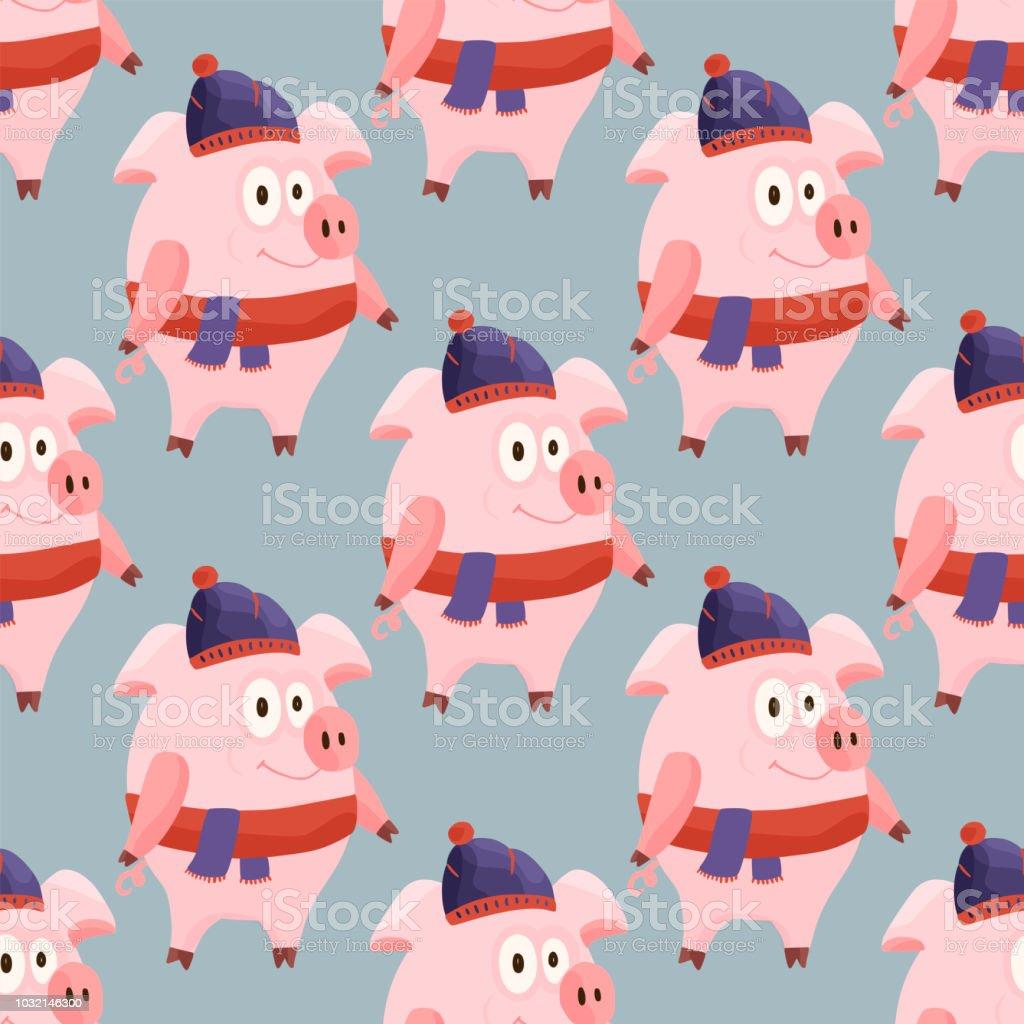 Weihnachten Animation.Neue Jahr 2019 Musterdesign Mit Weihnachten Cartoon Flach Rosa Schweine Stock Vektor Art Und Mehr Bilder Von 2019