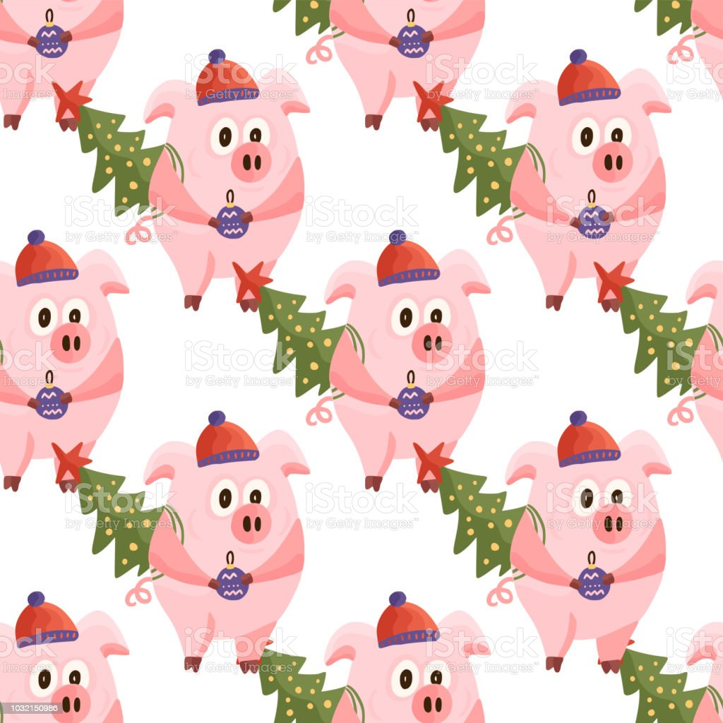 new year 2019 seamless pattern with christmas cartoon flat pink pigs royalty free new