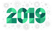 new year 2019 geometric date with fireworks on background