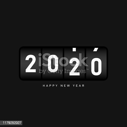 New year 2020 background decorative with odometer number counter. Design element template can be used for greeting card, postcard, backdrop, brochure, publication, banner, vector illustration