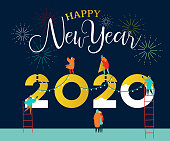 Happy New Year 2020 greeting card of young people team working together making big calendar date number sign with party fireworks. Friend group or family holiday help concept.