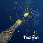New Year 2020 luxury greeting card illustration, champagne bottle made of gold glitter texture on festive blue background with holiday text quote.