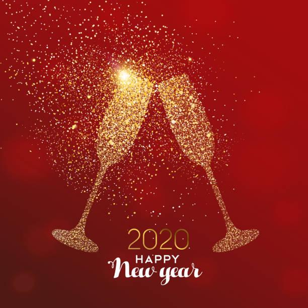 ilustrações, clipart, desenhos animados e ícones de cartão do ano novo 2020 do brinde da bebida do glitter - brinde