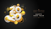 Abstract 2020 new year greeting card design with 3d white, black and gold Christmas balls. Elements are layered separately in vector file.