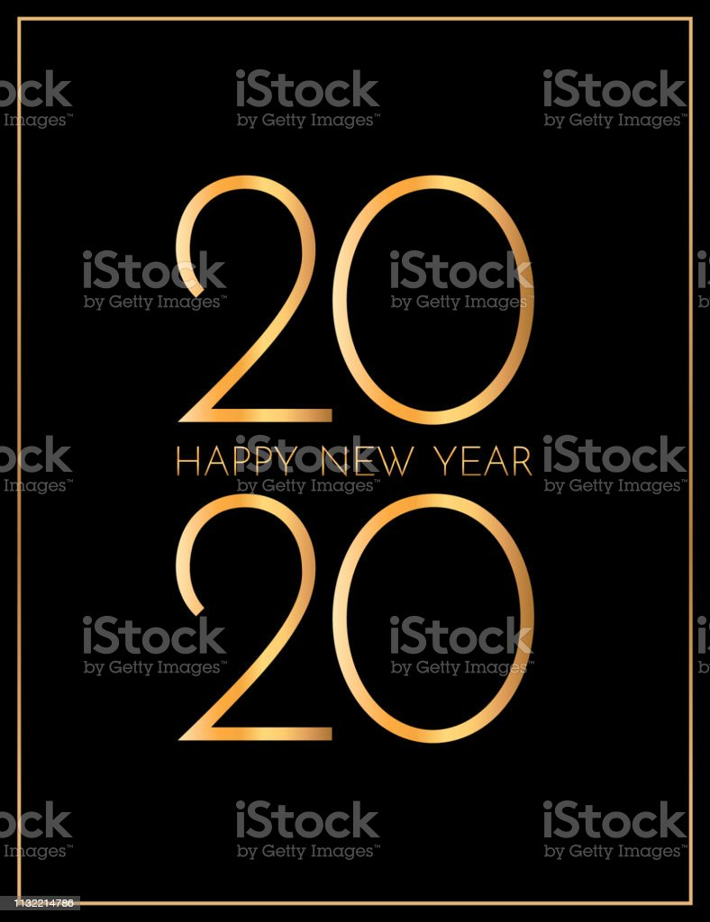 New Year 2020 greeting card. 2020 golden New Year sign on dark...