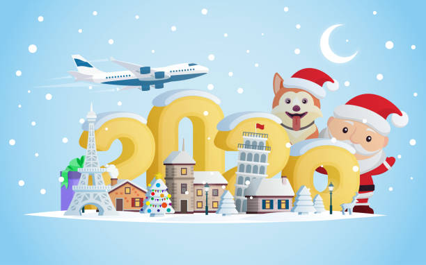 New year 2020. Greeting card. Flat 3d numbers and objects. The winter vacation. A small town in the mountains at night. Santa Claus and Dog. Christmas travel vector illustration. vector art illustration