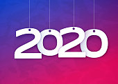 Happy New Year 2020 hanging numbers concept.