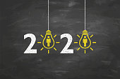 New Year 2020 Human Resource Concepts on Blackboard Background