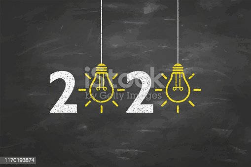 New Year 2020 Idea Concepts on Blackboard Background