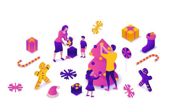 stockillustraties, clipart, cartoons en iconen met nieuwjaar 2020 isometrische 3d illustratie, familie vieren wintervakantie partij, kerst concept, ouders, kinderen versieren boom, heden, cartoon mensen samen, violet, roze, gele kleur - family winter holiday