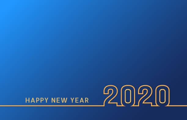 new year 2020 line text design with golden numbers on blue background. holiday banner, poster, flyer, greeting card or invitation template. year of the rat. vector illustration - new years day stock illustrations