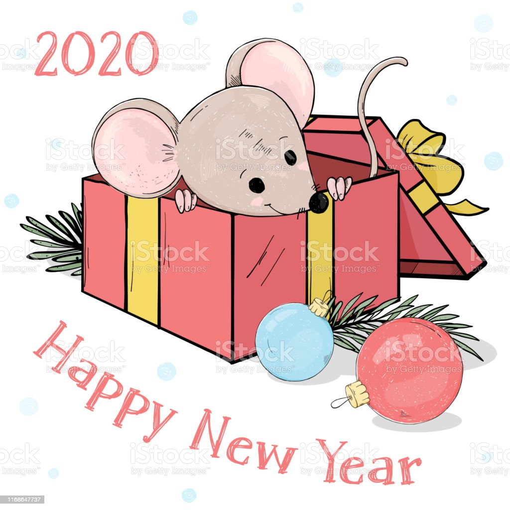 Nouvel An 2020 Carte Postale Avec Une Petite Souris Drole Dans Une Boite De Cadeau Et Des Boules De Noel Vecteurs Libres De Droits Et Plus D Images Vectorielles De Affiche Istock