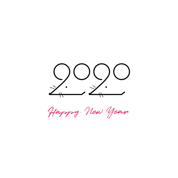 new year 2020 two rats illustration - new years day stock illustrations