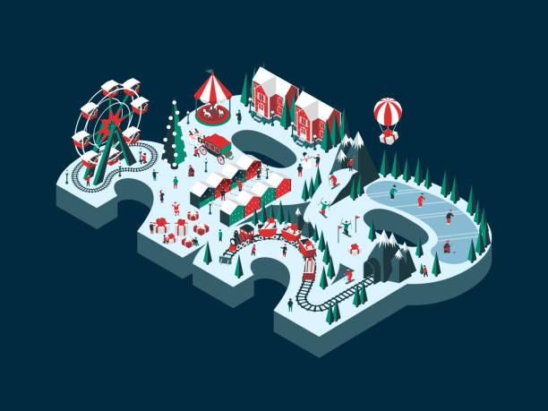 illustrazioni stock, clip art, cartoni animati e icone di tendenza di capodanno 2020 - negozio sci