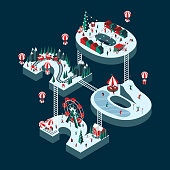 Vector illustration on the theme New Year 2020. Isometric style. Happy people are having fun and celebrating winter holidays. For a poster or banner and greeting card.