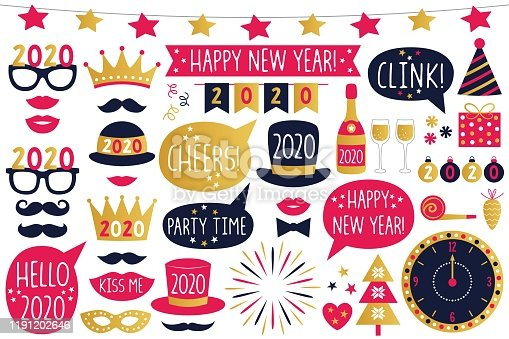 New Year 2020 vector party signs and photo booth props, isolated on white
