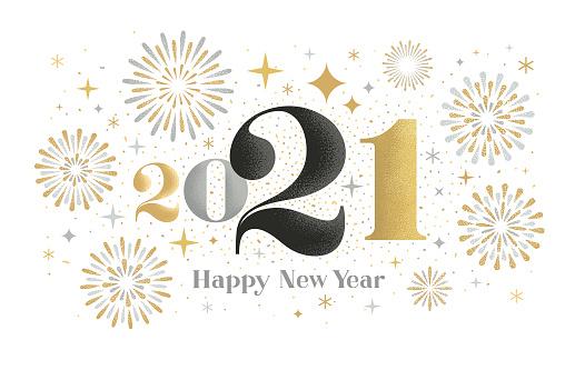 New year 2021 fireworks greeting