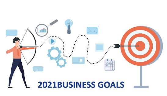 New year 2021 goals Businessman leader archer aiming shooting at a target. Business achievement focus consept successful. Vector illustration isolated banner poster