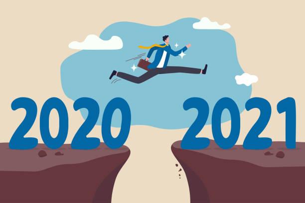 illustrations, cliparts, dessins animés et icônes de nouvel an 2021 espoir pour la reprise des entreprises, l'année de changement de 2020 à 2021 calendrier ou un nouveau défi à venir concept, confiance succès homme d'affaires tenter de sauter haut surmonter le risque à la falaise suivante. - calendrier de l'avant