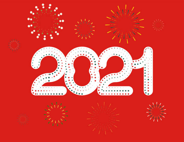 New year 2021 red vector art illustration